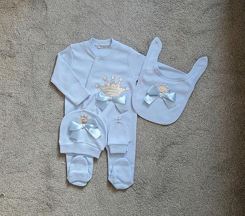 Baby Blue Sequin Crown Sleepsuit Set