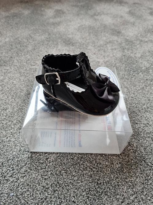 Baypods Black Patent Soft Sole Bow Shoes