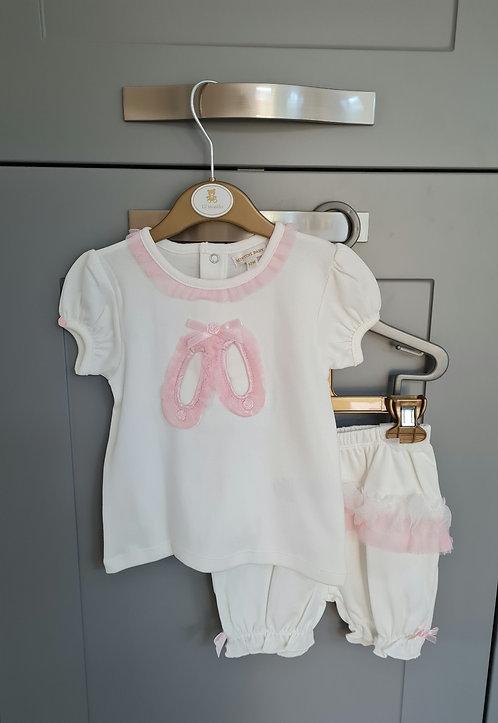 Mintini Cream & Pink Ballerina Bloomer Set