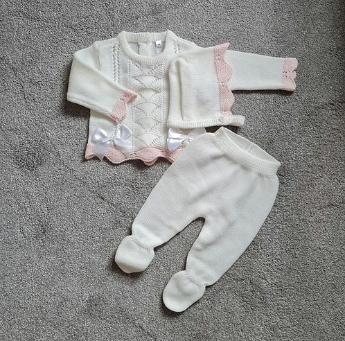 Cream & Pale Pink Bow Knitted Boxed Set