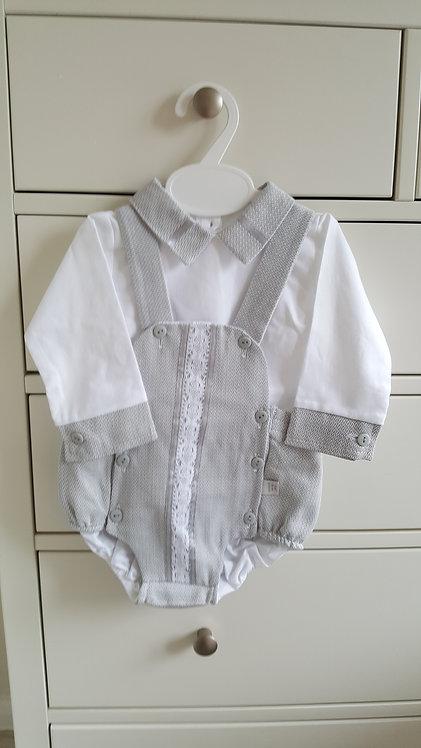 Smart Grey Apron & White Shirt Set