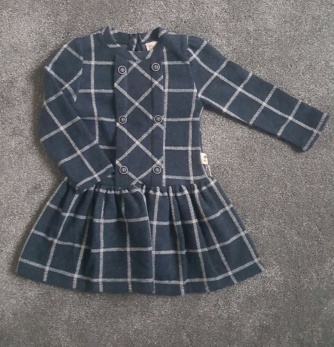 Navy Checked Button Dress