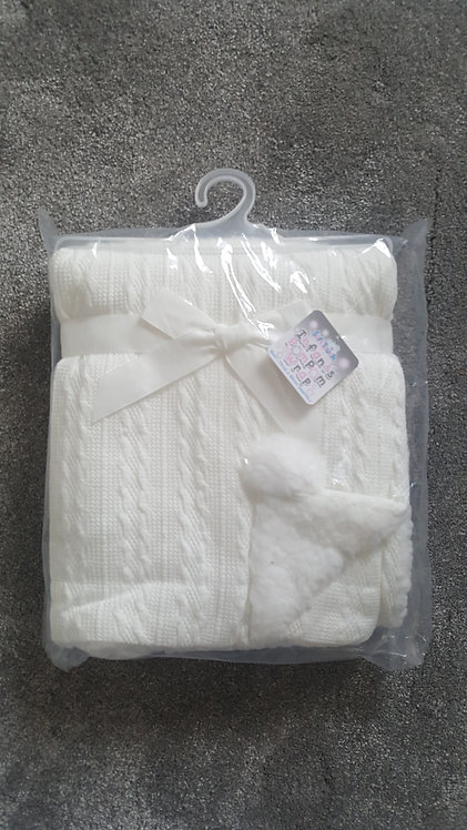 Cream Cable Knitted Pom Pom Blanket