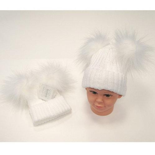 White Knitted Fluffy Pom Pom Hat