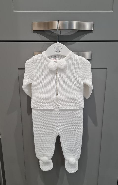 White Pom Pom Knitted Set
