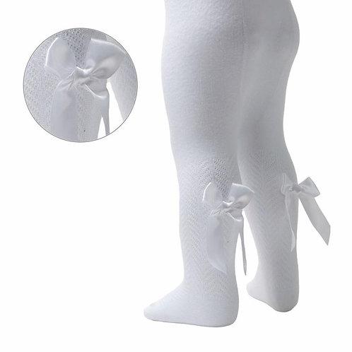 White Chervon Bow Tights