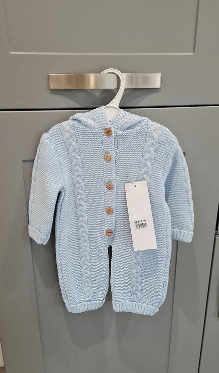 Blue Knitted Pom Pom Hooded Pramsuit