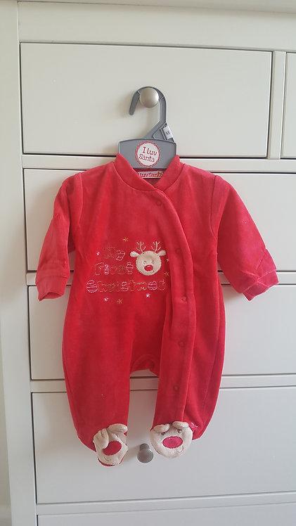 My First Christmas Velour Sleepsuit