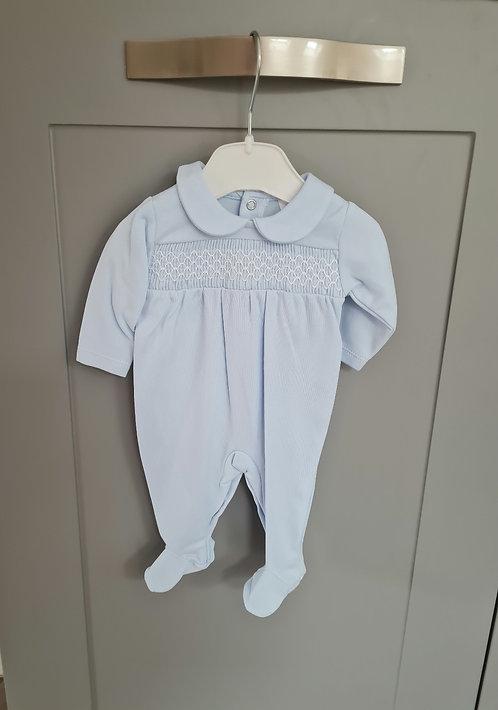 Baby Blue Smocked Sleepsuit