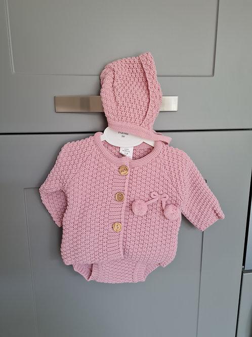 Dark Pink Chunky Knitted Pom Pom Bonnet Set