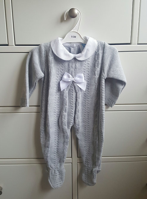 Grey Cable Knitted Bow Sleepsuit