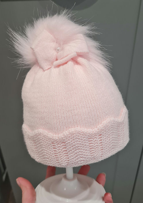 Baby Pink Bow Fluffy Pom Pom Hat