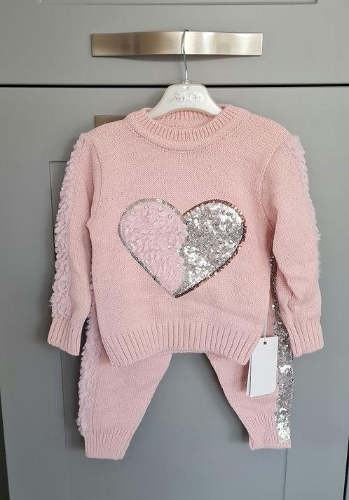 Dusky Pink Diamante & Sequin Fluffy Trim Lounge Set
