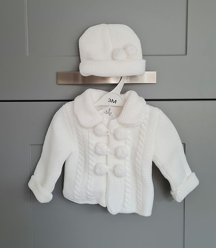 White Chunky Pom Pom Jacket & Hat Set