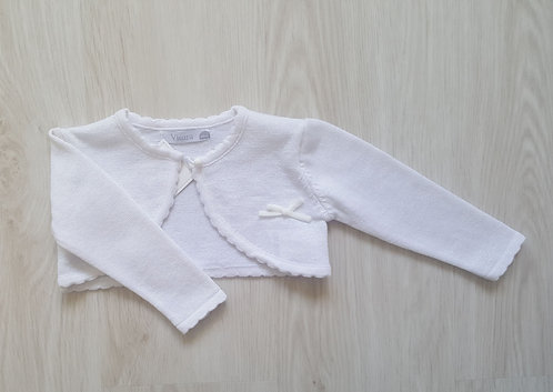 White Shimmer Effect Bolero Cardigan