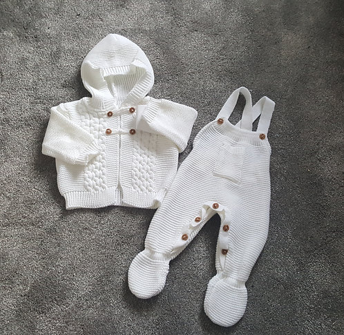 White Hooded Cardigan & Dungaree Set