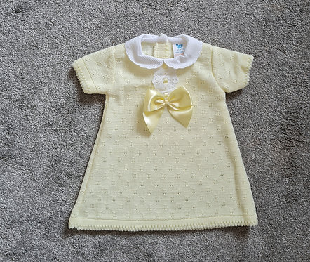 Pale Yellow Knitted Bow Dress