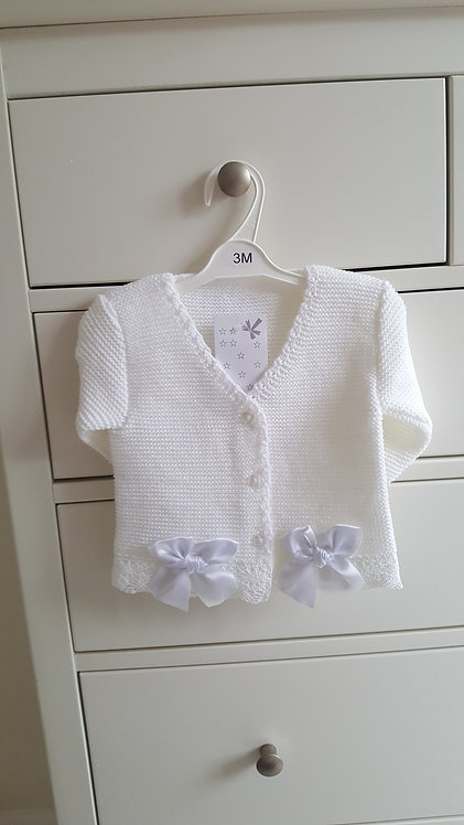 Off White Knitted Double Bow Cardigan