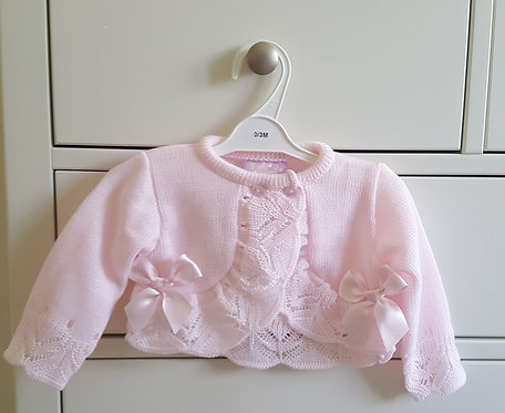 Pink Bow Crochet Knitted Cardigan