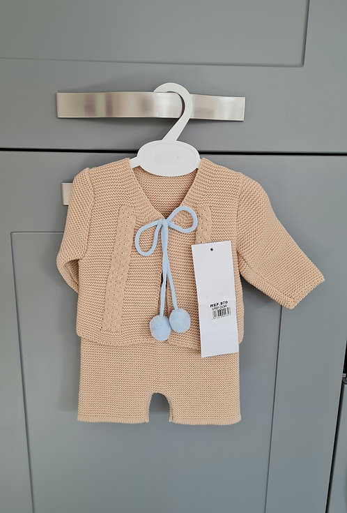 Camel & Baby Blue Pom Pom Knitted Set