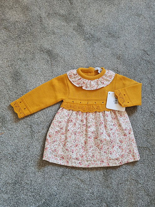 Mustard Floral Knitted Dress