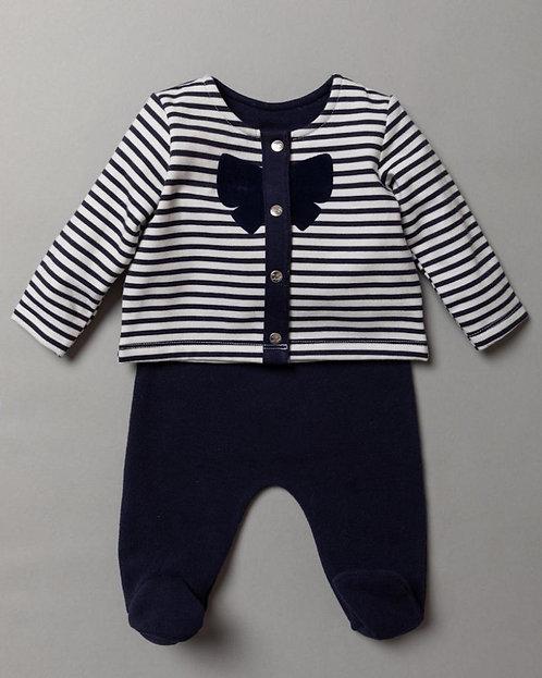 Navy Blue & White Striped Bow Set
