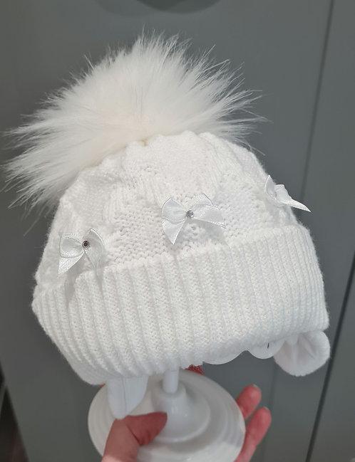 White Diamante Bow Fluffy Pom pom Hat