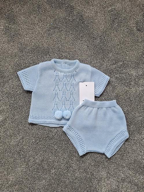 Blue Pom Pom Knitted Shorts Set
