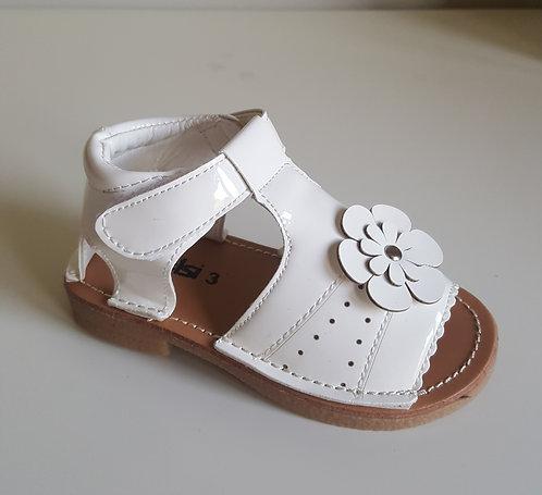 Off White Patent Flower Velcro Sandals
