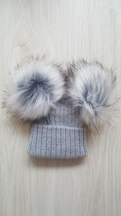 Grey Unisex Knitted Faux Fluffy Pom Pom Hat