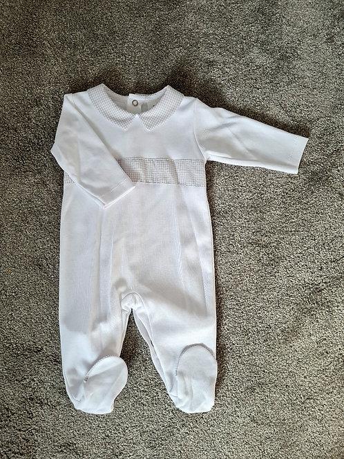 White & Grey Unisex Checked Sleepsuit