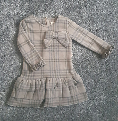 Brown Bow Checked Stud Frill Dress