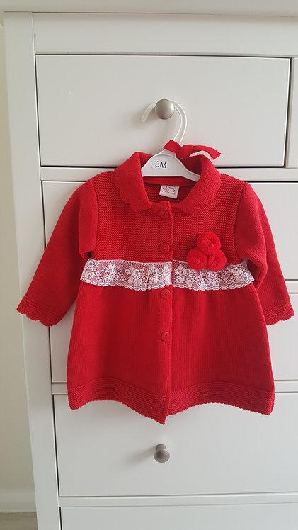 Spanish Red Lace Pom Pom Jacket & Bonnet Set