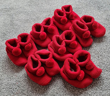 Red Knitted Pom Pom Booties