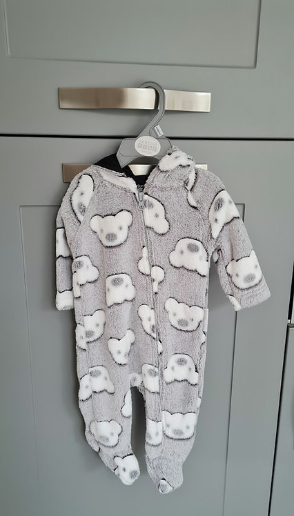 Unisex Soft Grey Teddy Bear Pramsuit