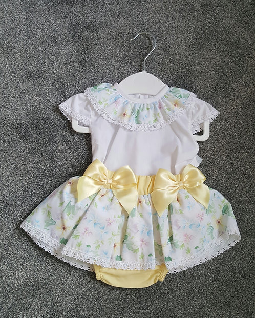 Yellow Floral Frilly Bow Bloomer Set