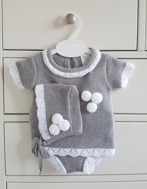 Grey 3 Piece Knitted Pom Pom Set