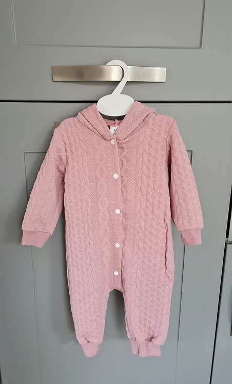 Dusky Pink Quilted Bunny Ear Pramsuit