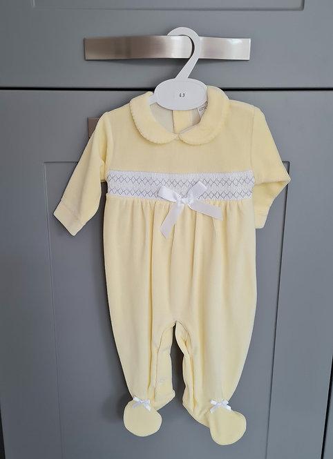 Yellow Smocked Velour Sleepsuit