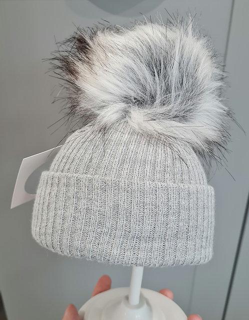 Grey Knitted Fluffy Winter Pom Pom Hat