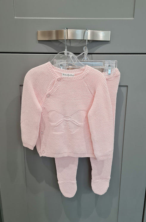 Pink Bow Front Detail Knitted Set