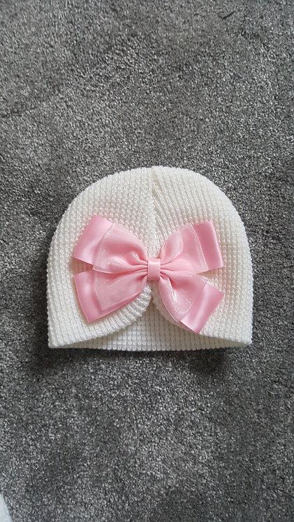 Cream Turban Pink Bow Hat