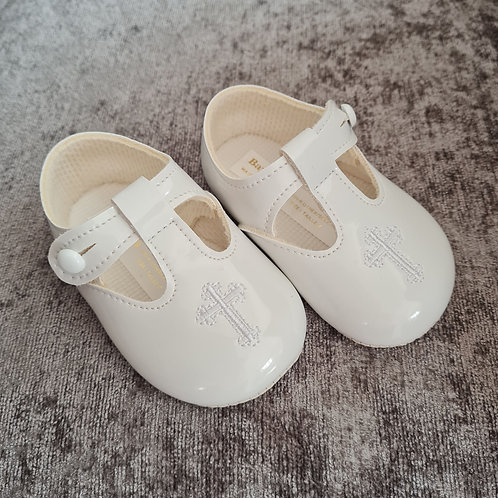 White Christening Patent Cross Shoes