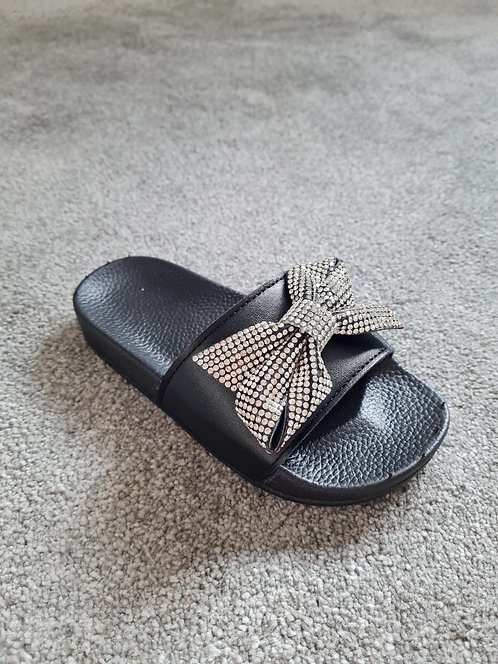 Black Diamante Bow Sliders