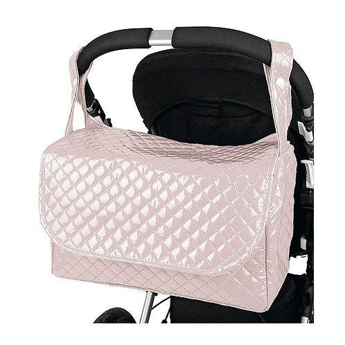 Baby Pink Quilted Patent Changing Bag