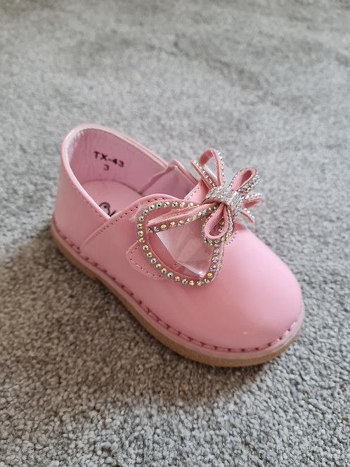 Pink Diamante Bow Velcro Shoes