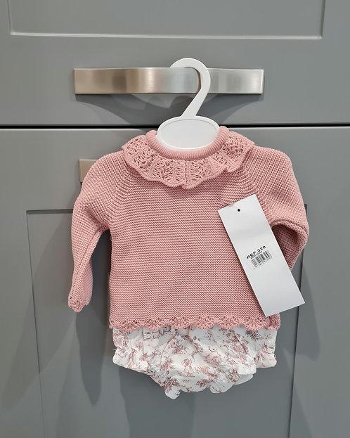 Blush Pink Vintage Bloomer Knitted Set