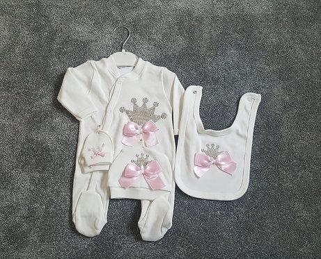 Cream / Pink Sequin Crown Sleepsuit Set