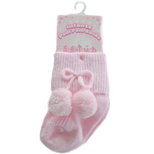 Pink Ankle Pom Pom Socks