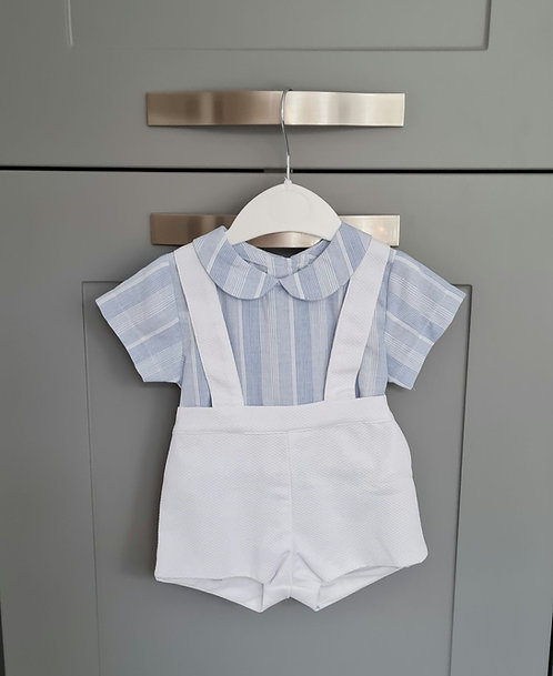 Baby Blue & White Striped Shirt Dungaree Set